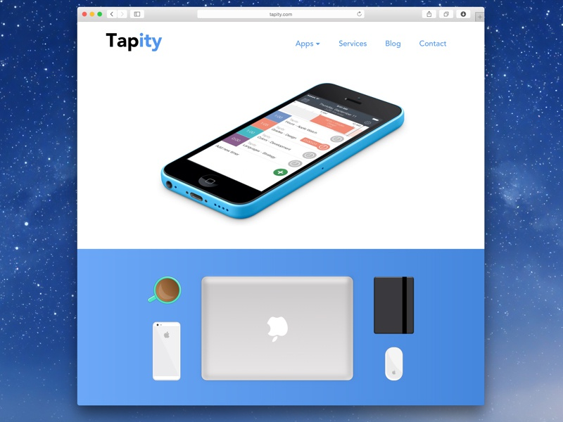 The New Tapity website browser clients services apps contact video iphone company