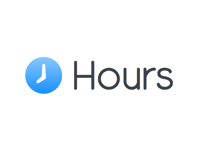 Hours New Logo simple clean logo tapity tracking time design website landing page hours app iphone