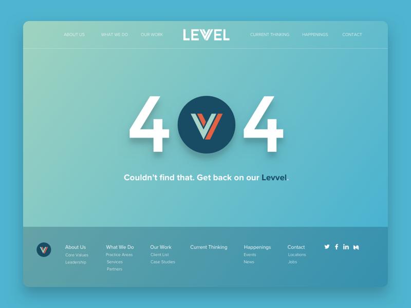 Levvel's New 404 website 404 product levvel devops development design consulting charlotte