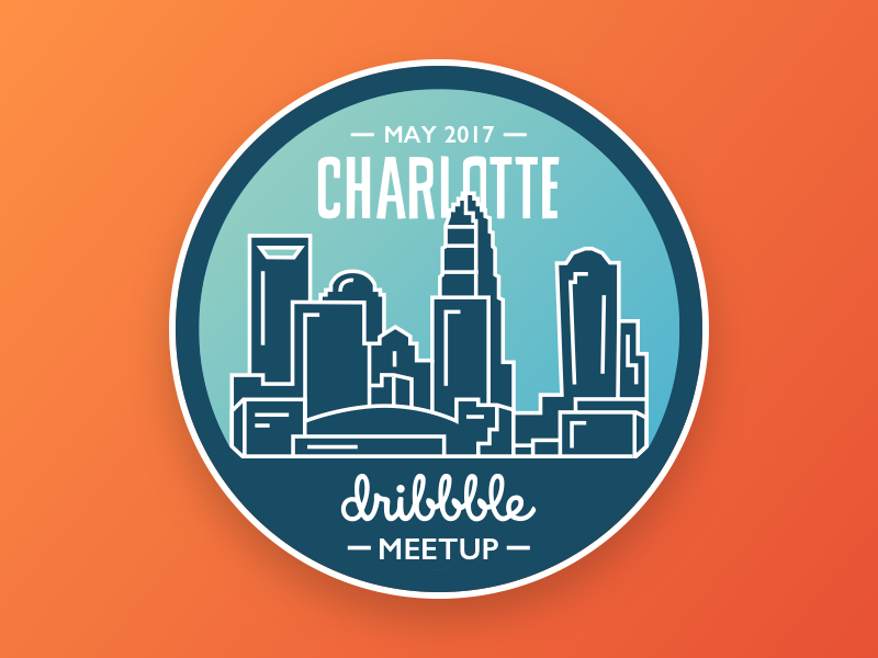 Charlotte Dribbble Meetup levvel dribbble city badge connect design skyline meetup clt charlotte