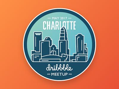 Charlotte Dribbble Meetup levvel dribbble city badge connect design skyline meetup clt charlotte