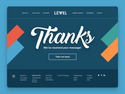 Levvel's Success Page message success website product levvel devops development design consulting charlotte