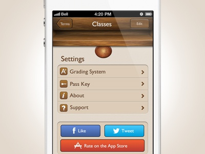 Grades Pro Settings iphone app ui paper wood buttons settings knob grades