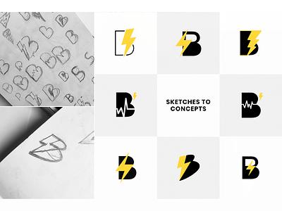 BeatStorm Productions - Process logo sketches logo concepts sketch logo design process logo process sketches vector identity design branding brand identity design logo