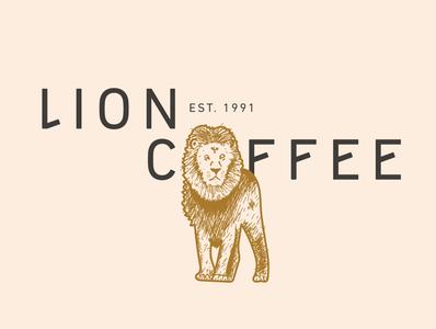 Lion Coffee concept typography vector logo identity illustrations illustration illustrator design