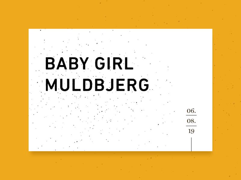 Babygirl Muldbjerg identity yellow print invitation design baby