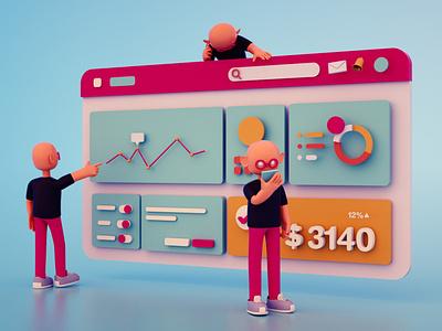 3D Dashboard web ux 3d ui illustration design