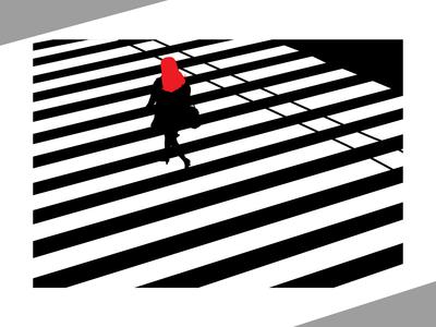White and black street line illustration