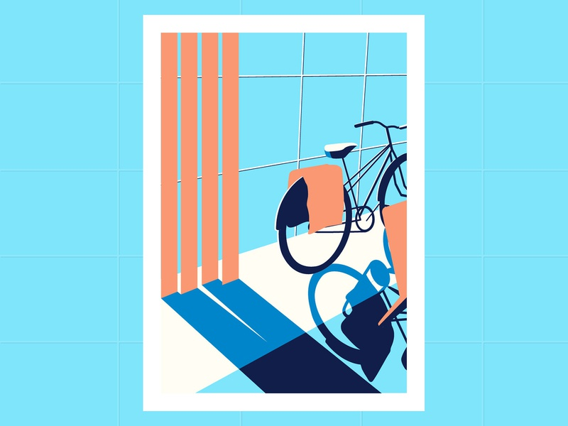 Bycicle illustration artwork simplified illustrator art illustration art shadows bicycle illustration design