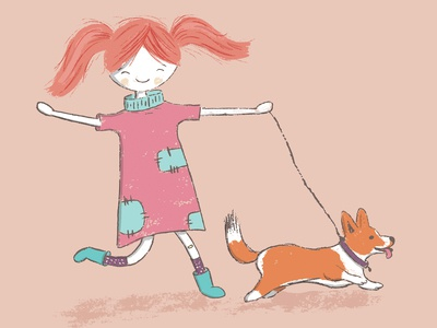 Happy girl with corgi dog illustration