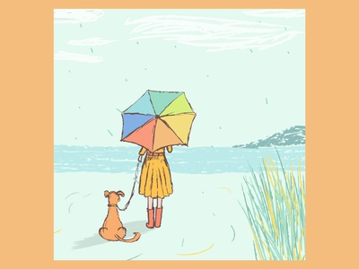 Woman looking at the sea with her dog illustration