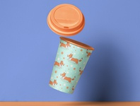 Corgi dog pattern on a coffee cup