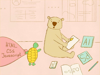 Should designers know how to code - bear and turtle illustration