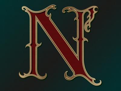 N red golden gradient letter typogaphy caligraphy