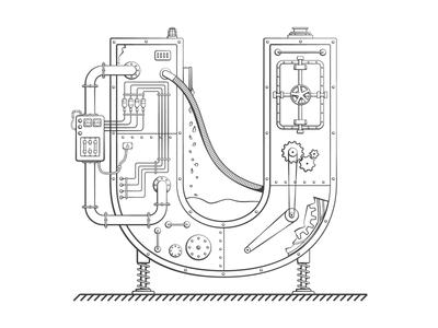 U plumbing blueprints mechanism mechanical black and white letter lineart