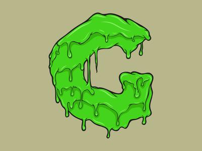 G type art type green slime typogaphy letter