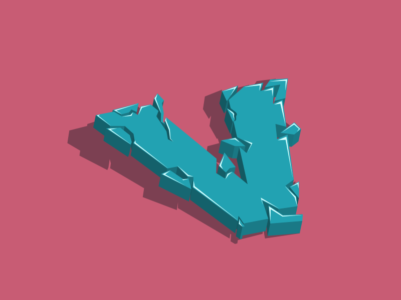 V broken cracked type art type 3d art 3d vector art typogaphy letter