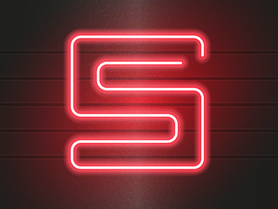 S neon sign type art gradient typeart type glowing neon typography