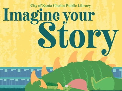 Imagine your Story-Dragon library dragon typography vector flat illustration design