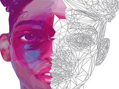 FKA TWIGS LowPoly Portrait Process vector digitalart illustration portrait lowpoly fkatwigs