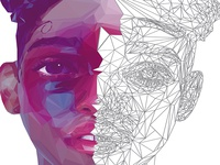 FKA TWIGS LowPoly Portrait Process