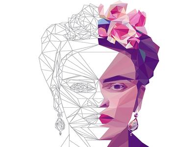 Frida Kahlo LowPoly Portrait Process vector digitalart illustration portrait lowpoly fridakahlo