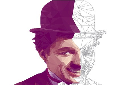 Charlie Chaplin LowPoly Portrait Process vector digitalart illustration portrait lowpoly charliechaplin