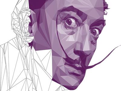 Salvador Dali LowPoly Portrait Process vector digitalart illustration portrait lowpoly dali salvadordali