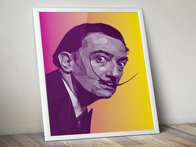 Salvador Dali LowPoly Portrait  vector digitalart illustration portrait lowpoly dali salvadordali