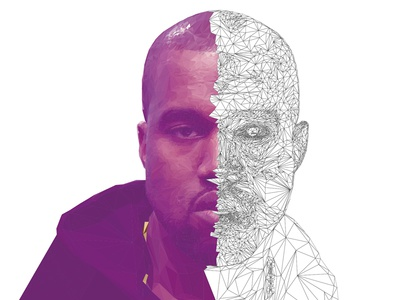 Kanye West HighPoly Portrait Process vector digitalart illustration portrait lowpoly eavesdropper mtv vmas kanyewest