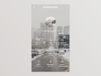 City App - Location Details quebec montreal downtown ios iphone gui ui mobile app city