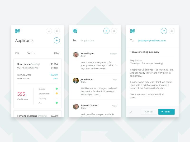 Intellirent Mobile intellirent responsive modal mobile rent applicants ui dashboard app web