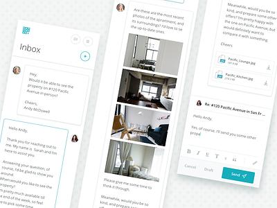 Intellirent Inbox web app mobile ui messaging message rent inbox intellirent
