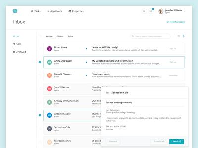 Intellirent Inbox - Web intellirent inbox rent message messaging ui mobile app web