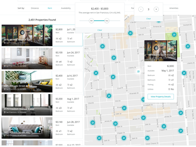 Discover Properties web app ui rent intellirent application applicant map search property properties discover