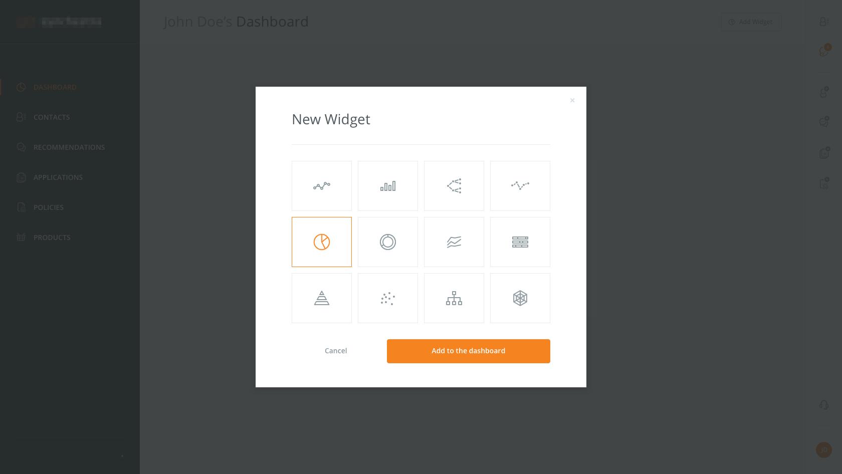 Analytics dashboard add widget