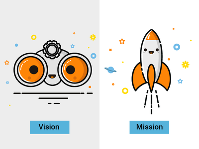Icons clean vector binoculars rocket cute ux icon vision mission