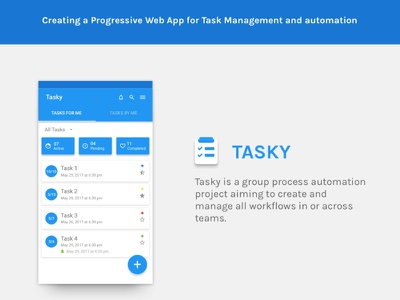Tasky - Introduction task blue clean ios android material mobile ux ui app