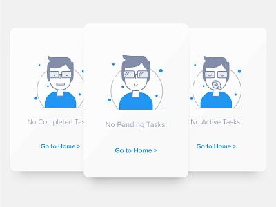 Tasky Illustrations happy boy clean blue empty error task illustration mobile ux ui