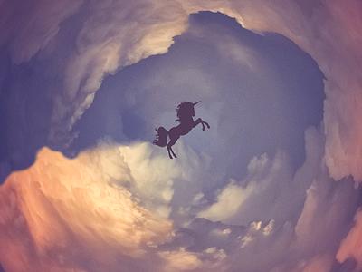 Unicorn in the clouds unicorn clouds round polar visual graphic