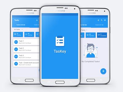 TasKey Mobile minimal clean ux ui blue material android app management task mobile