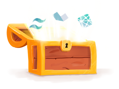 Web Development Unlocked Illustration gold treasure blog post illustration treasure chest alpine tailwind