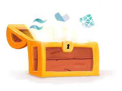 Web Development Unlocked Illustration gold treasure blog post illustration treasure chest alpine tailwind