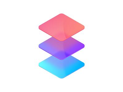 Tech Stack Mockup clean glow gradient glass design branding illustration vector