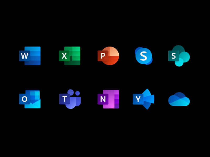 Microsoft Office Fluent Icons metro icon branding vector illustration microsoft app design icons fluent design fluent