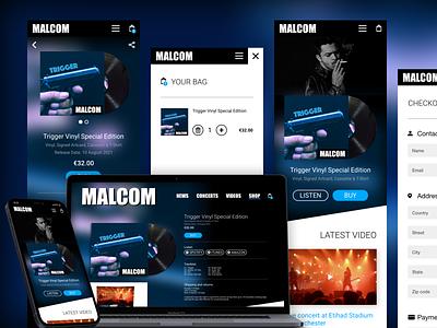 Album listening & ordering website dark modern website design app design ecommerce store music mobile website responsive ux ui design