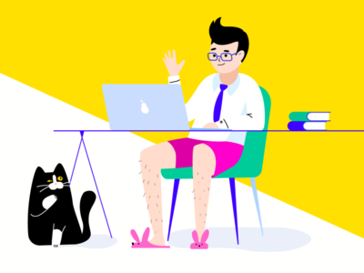 Online interview workfromhome homeoffice stayhome cat hr interview online interview vector design people hipster glasses office illustration flat