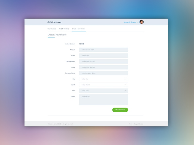 invoice generator by adrian nicholls on dribbble