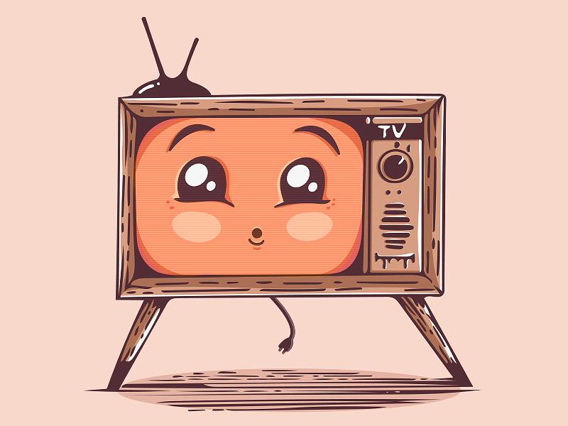 Kawaii TV cute character vector tv orange illustration kawaii