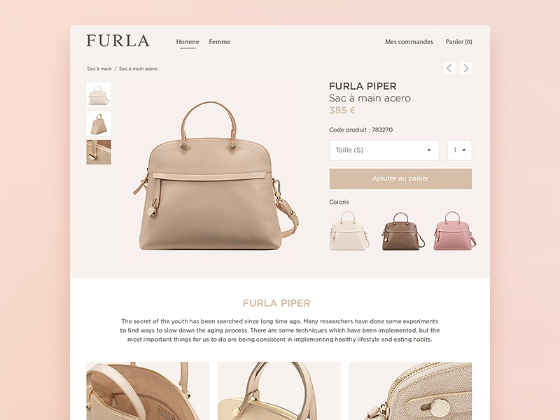Furla redesign store shop luxury interface inspiration redesign fashion clean e-commerce ui ux
